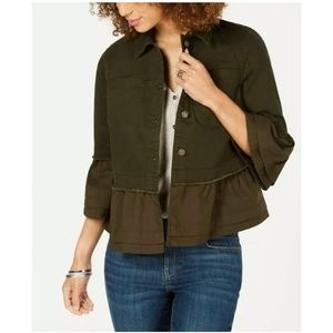 🎉 Style & Co Ruffled Denim Olive Jacket Medium